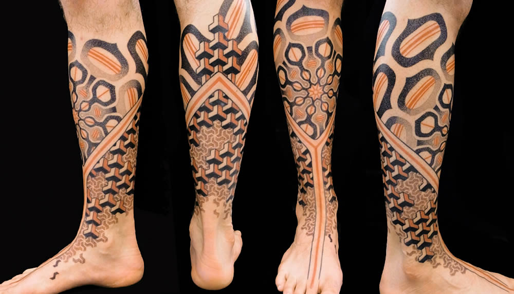 3d geometric shapes tattoo by Marco Galdo 3