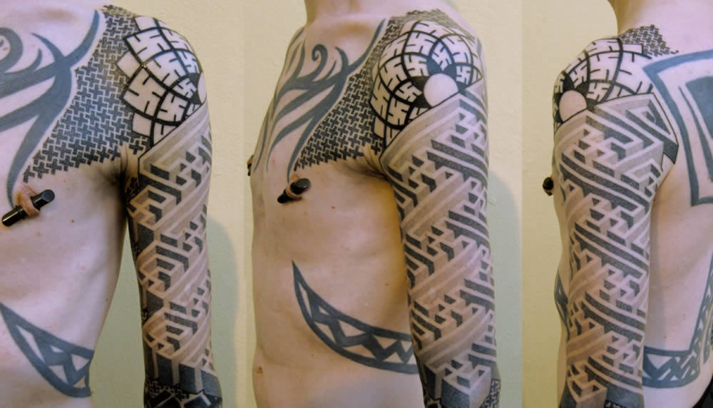 3d geometric shapes tattoo by Marco Galdo 7