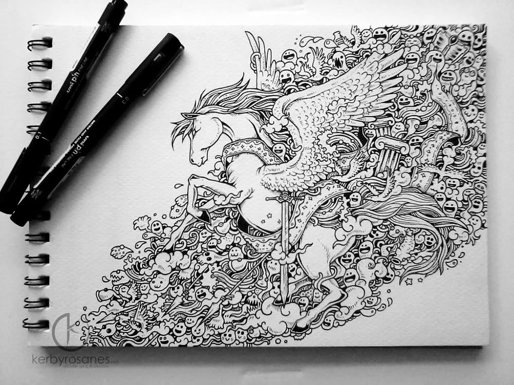 Unicorn sketchbook drawing by Kerby Rosanes
