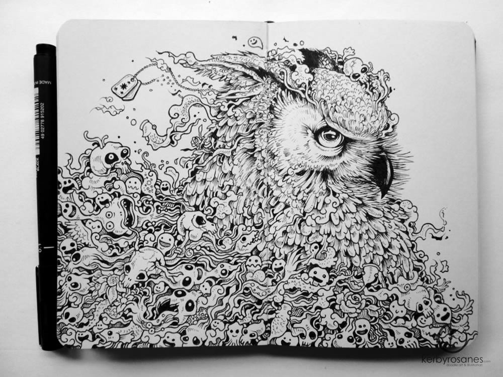 Owl sketchbook drawing by Kerby Rosanes