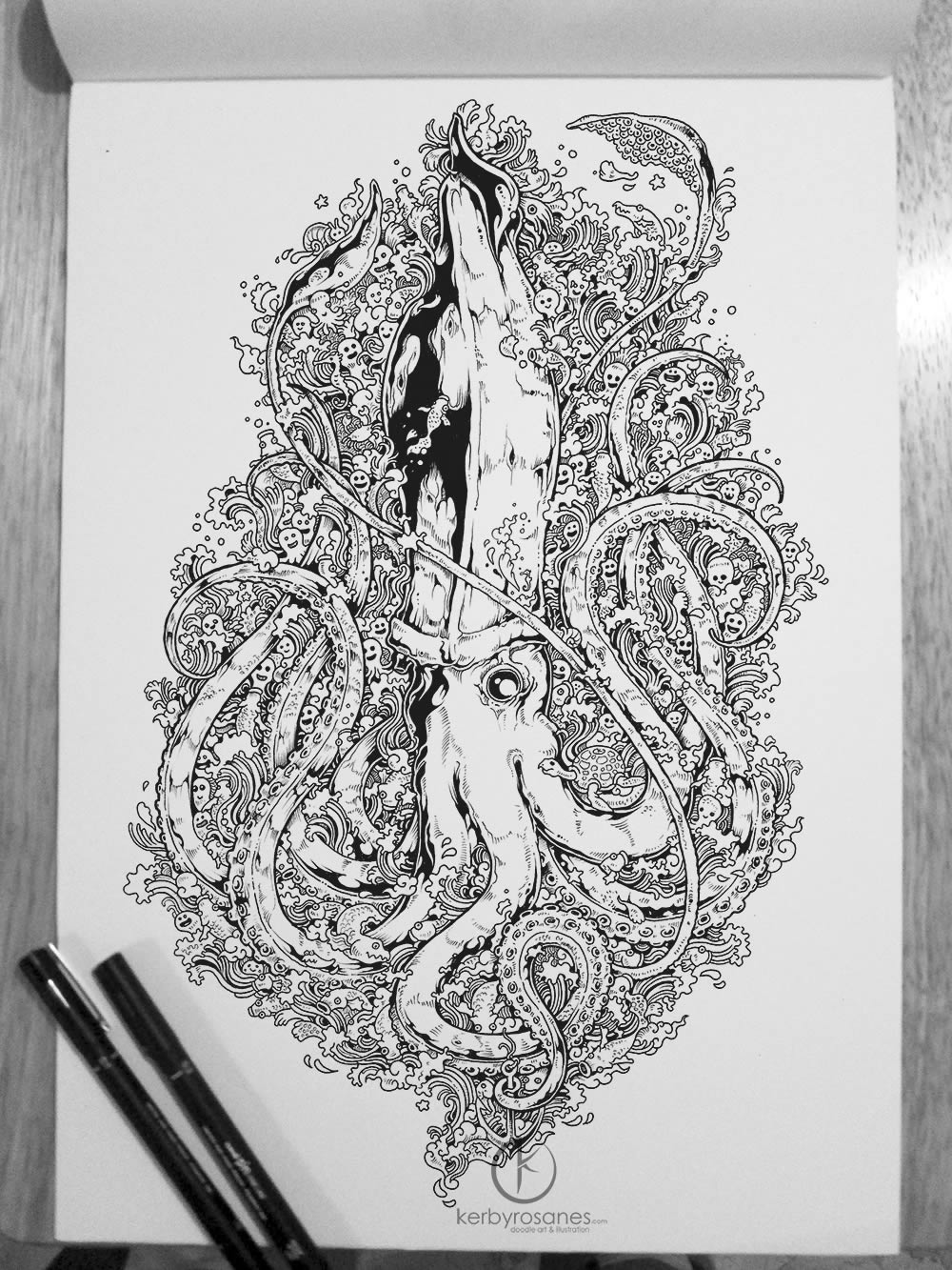 Octopus sketchbook drawing by Kerby Rosanes