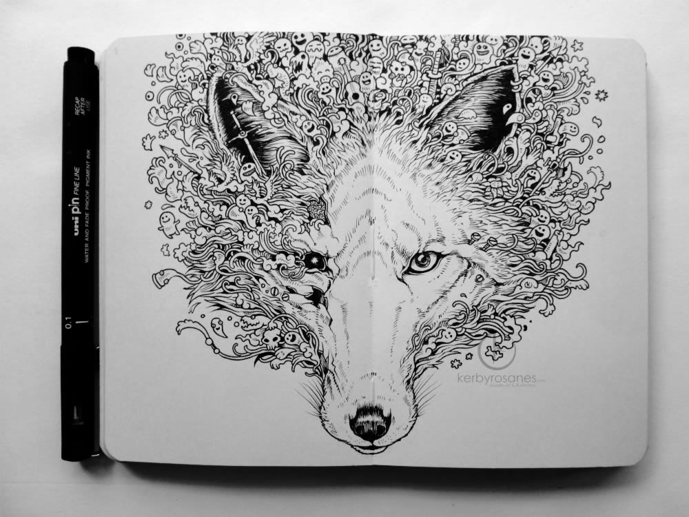 Wolf sketchbook drawing by Kerby Rosanes