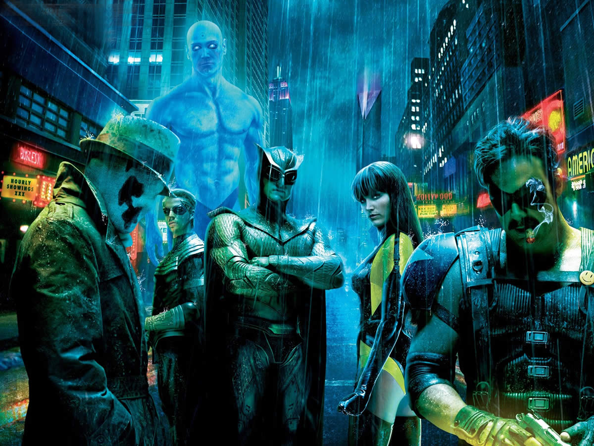 The Watchmen practise their melancholy superhero posing.