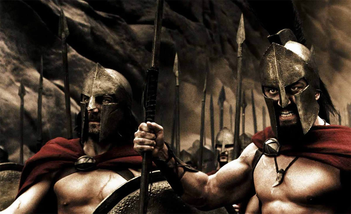 King Leonidas (Gerald Butler) and his 300 warriors prepare for battle.