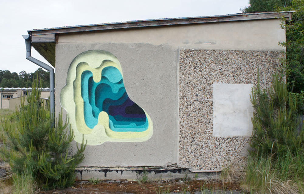 layer cutouts on wall, graffiti by 1010 (3)