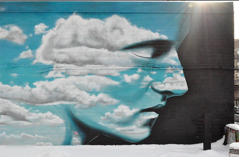 blue cloud face, graffiti by dasic
