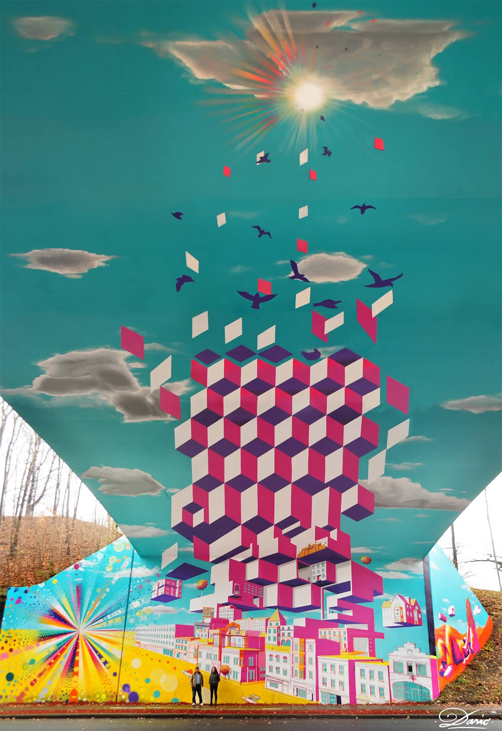 optical illusion mural by dasic