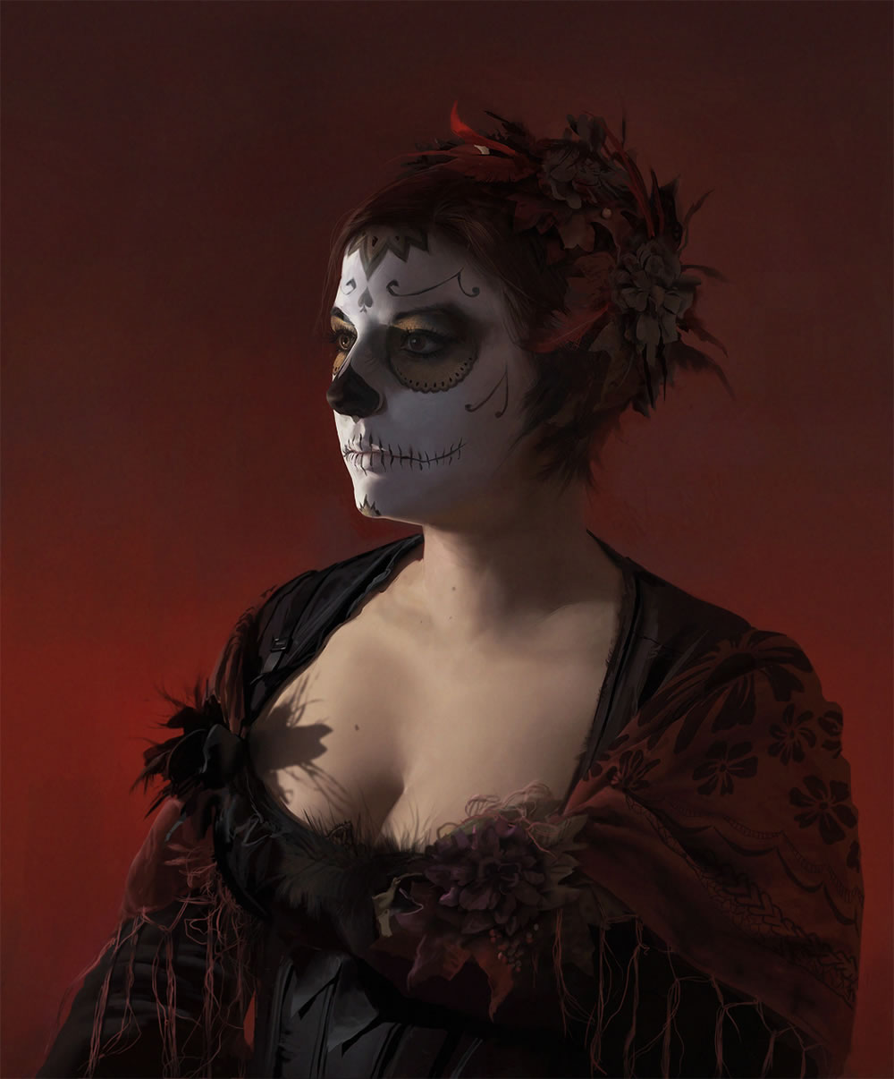 portrait with mexican face paint by jana schirmer