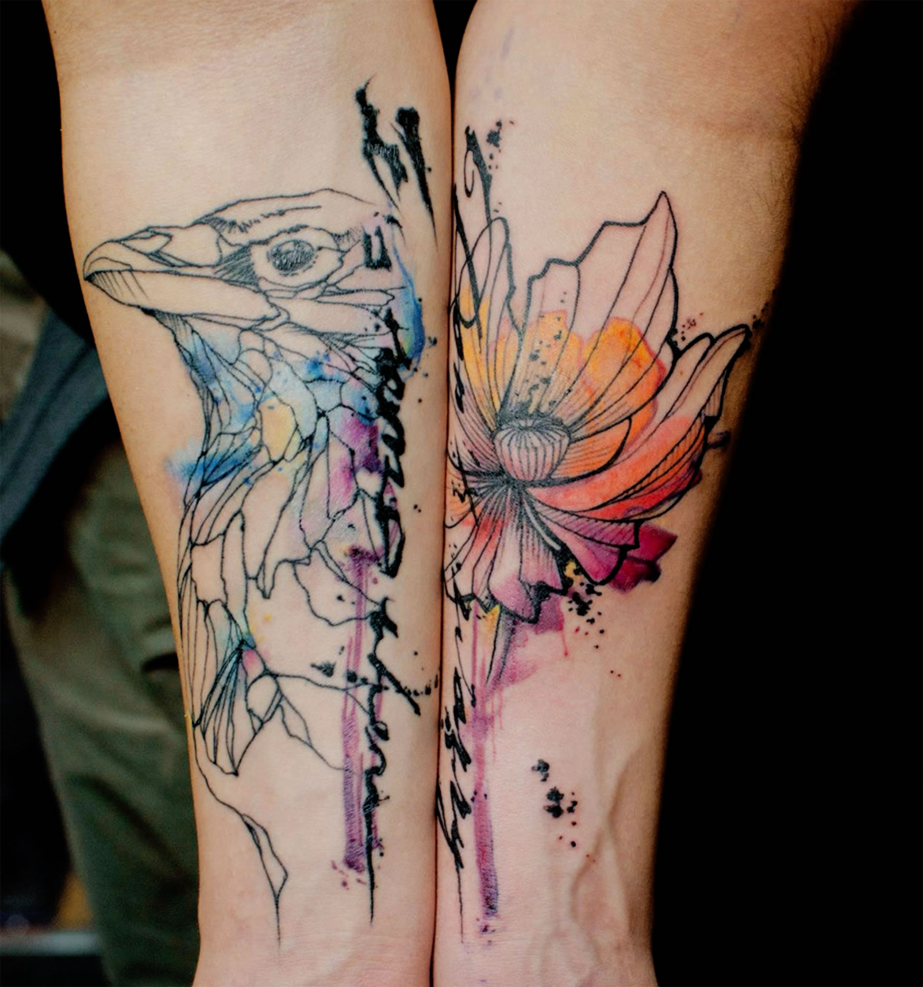 Stencil And Watercolor Tattoos By Klaim Scene360