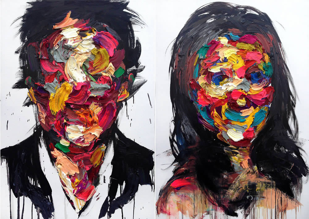 colored thick paint portraits 2 by kwangho shin