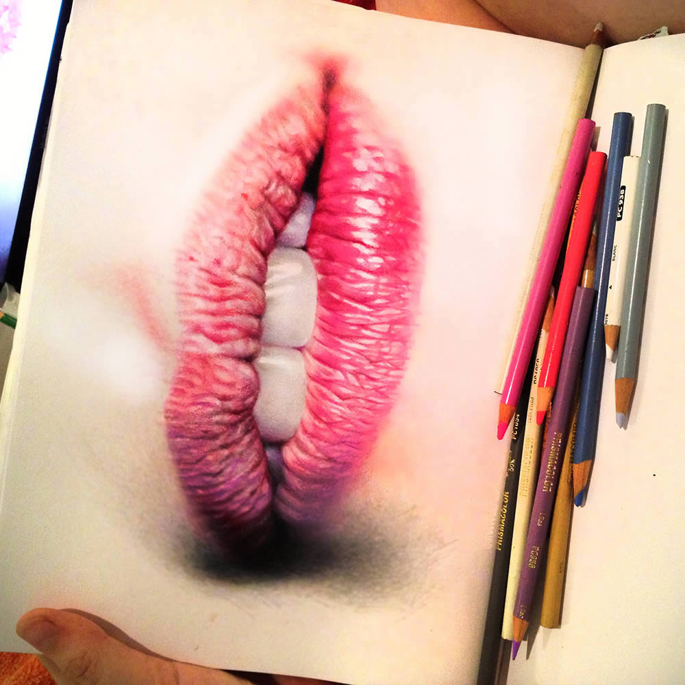 realistic lips on sketchbook by morgan davidson