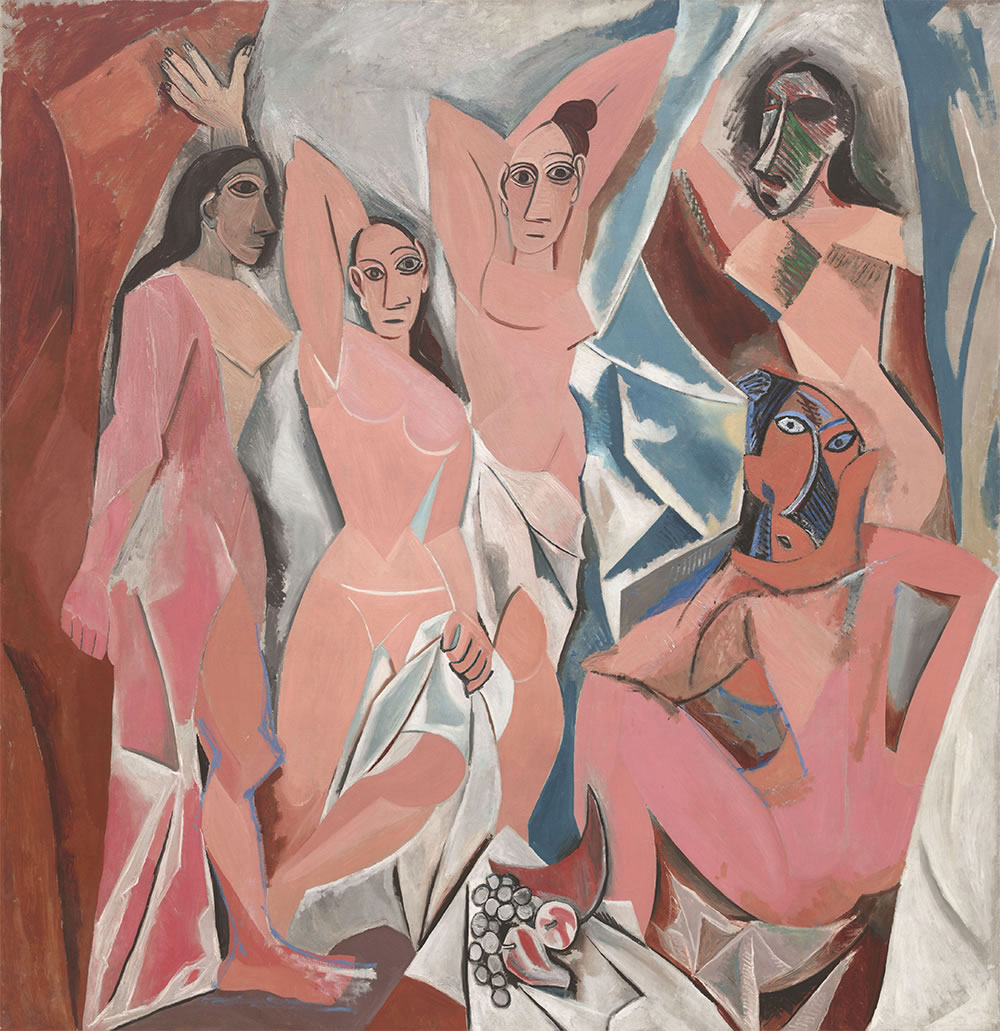 Les Demoiselles d'Avignon. Oil on Canvas (244 x 234 cm).