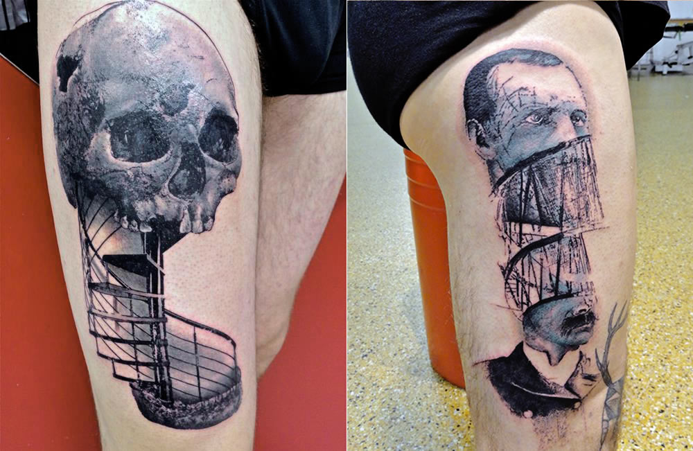 skull ladder and man divided face tattoos by toko loren