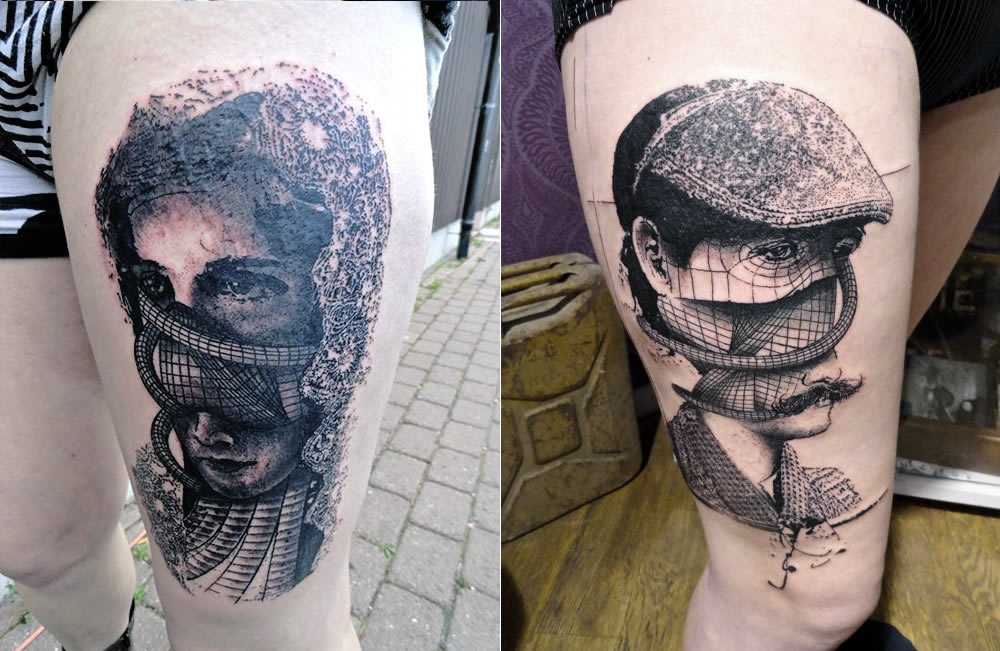 woman and man layered tattoo faces by toko loren