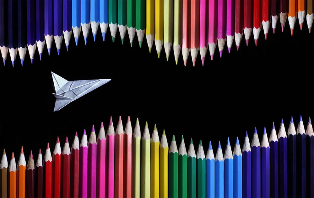 shooter plane and colored pencils by Victoria Ivanova