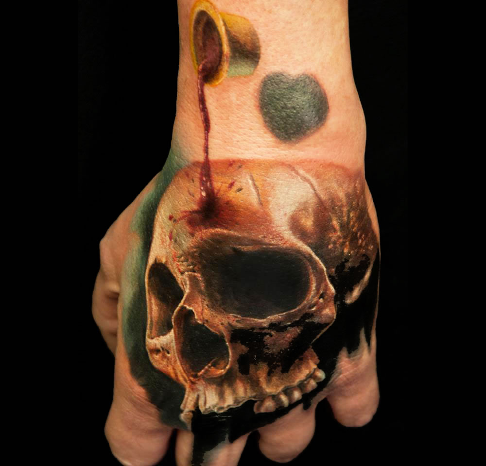 3d skull on hand by Andy Engel