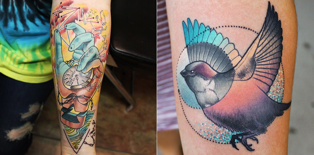 hand and bird tattoos by cody eich