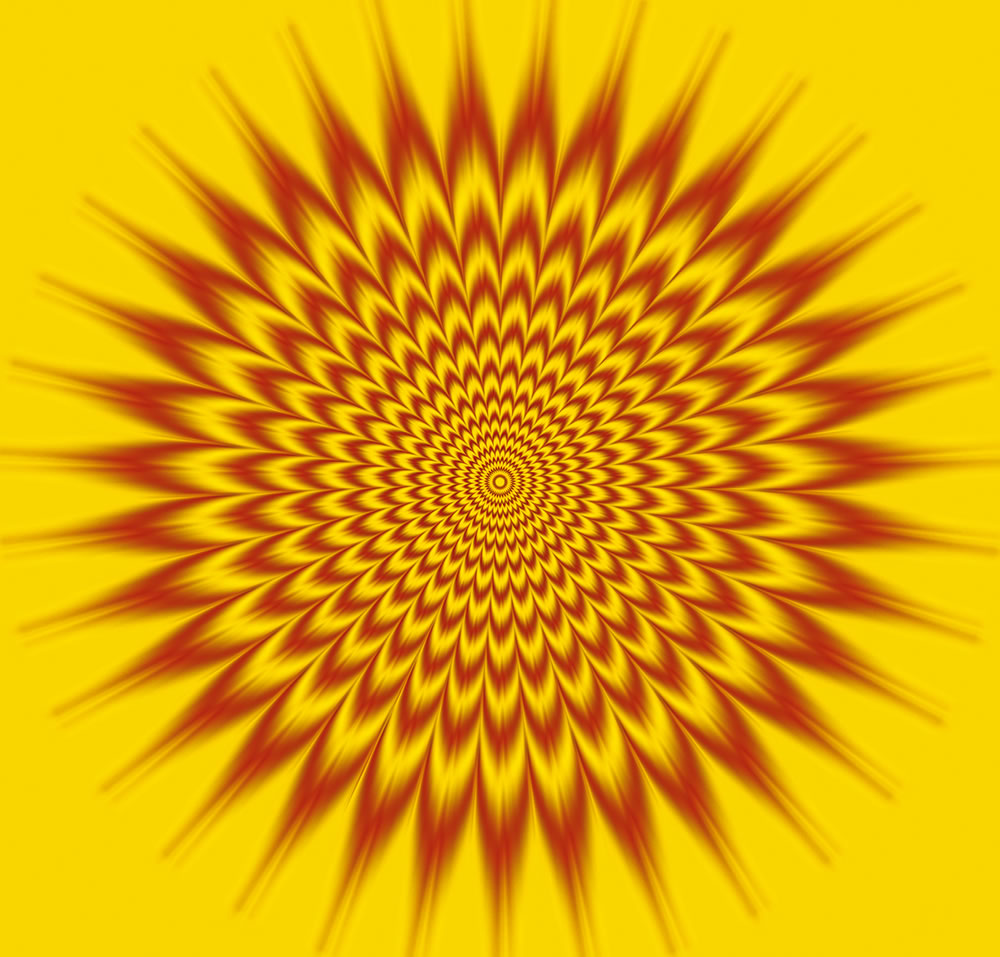 moving sun pattern, optical illusion by gianni sarcone