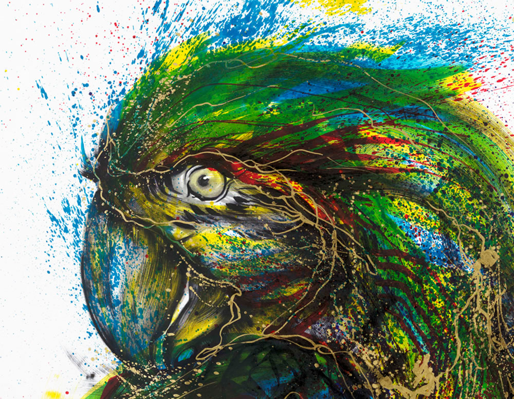 green and blue splash painting by hua tunan