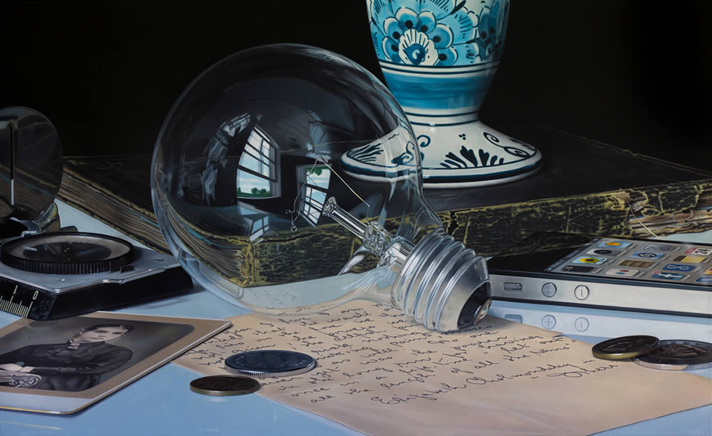 lightbulb, hyperrealist painting by Jason de Graaf