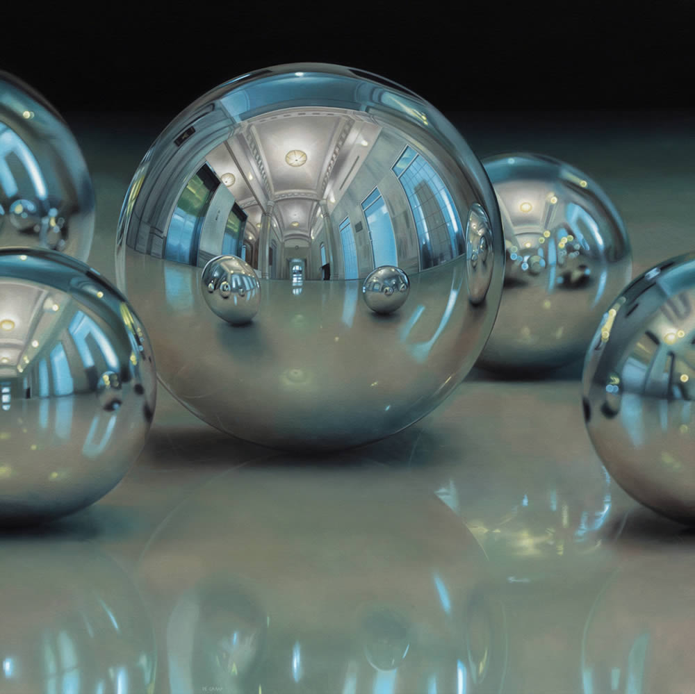 metal marble balls, hyperrealist painting by Jason de Graaf