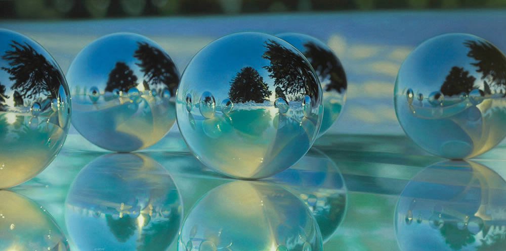 marbles with tree reflection, hyperrealist painting by Jason de Graaf