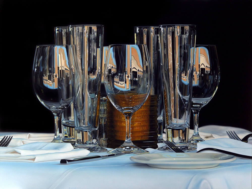 tall wine glasses, hyperrealist painting by Jason de Graaf