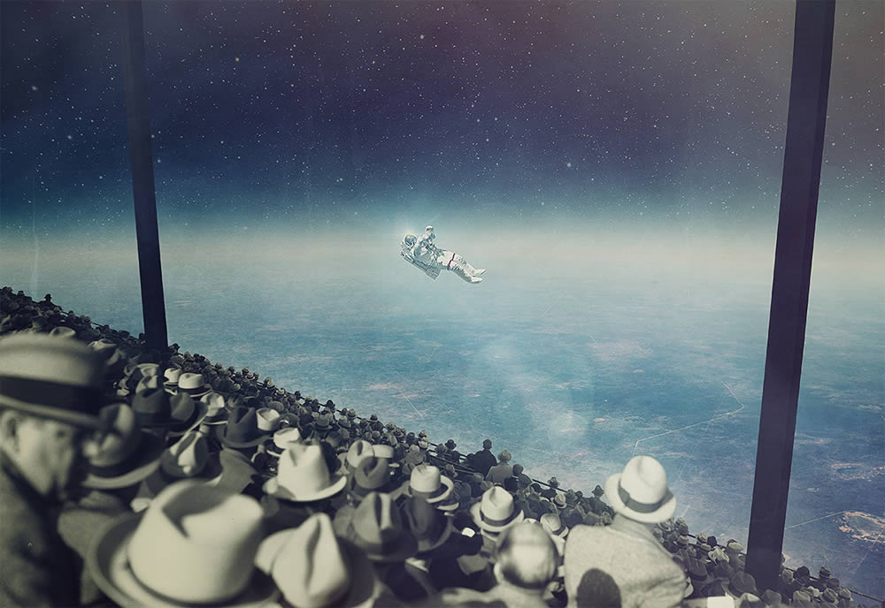 vintage men looking at astronaut by joseba elorza