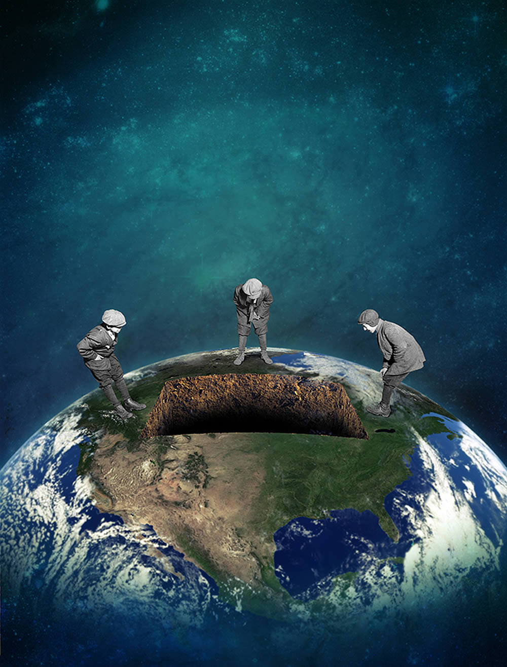 hole in earth, with working men by joseba elorza
