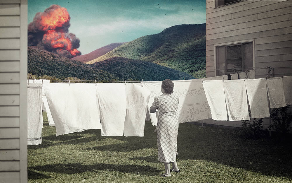 laundry day, explosion and woman by joseba elorza