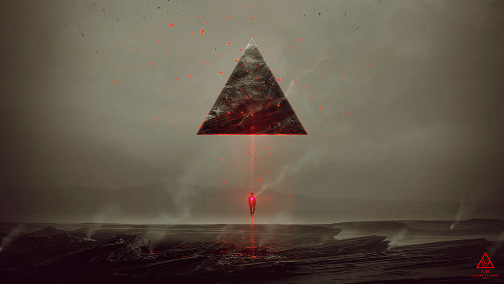 red light beam on man and triangle rock by kuldar leerment