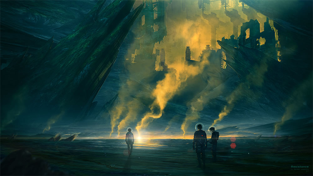 yellow and green smoke, people on landscape by by kuldar leerment