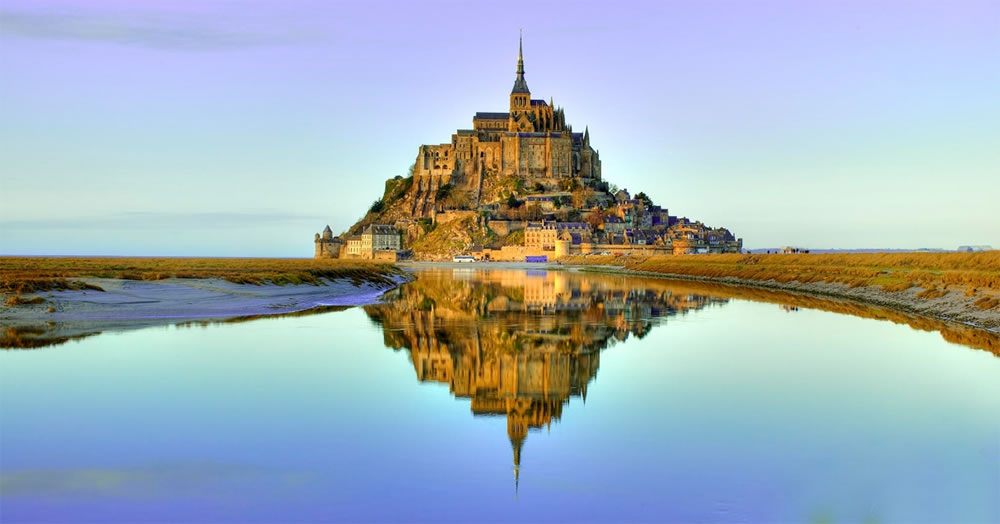 Mont-Saint Michel at dusk in France,
