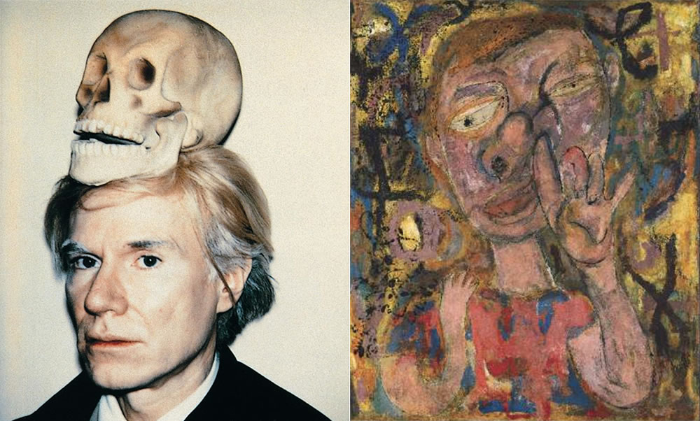 """Self-portrait of Warhol with skull on head, and """"The Broad Gave Me My Face But I Can Pick My Own Nose"""