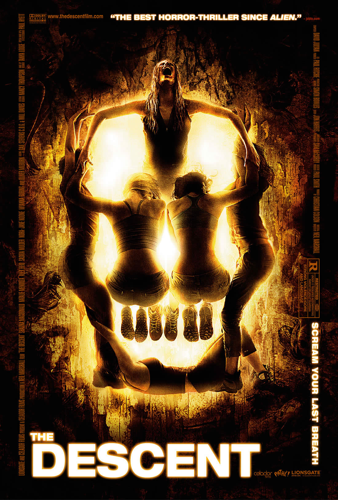 The Descent (2005) movie poster, skull, dali