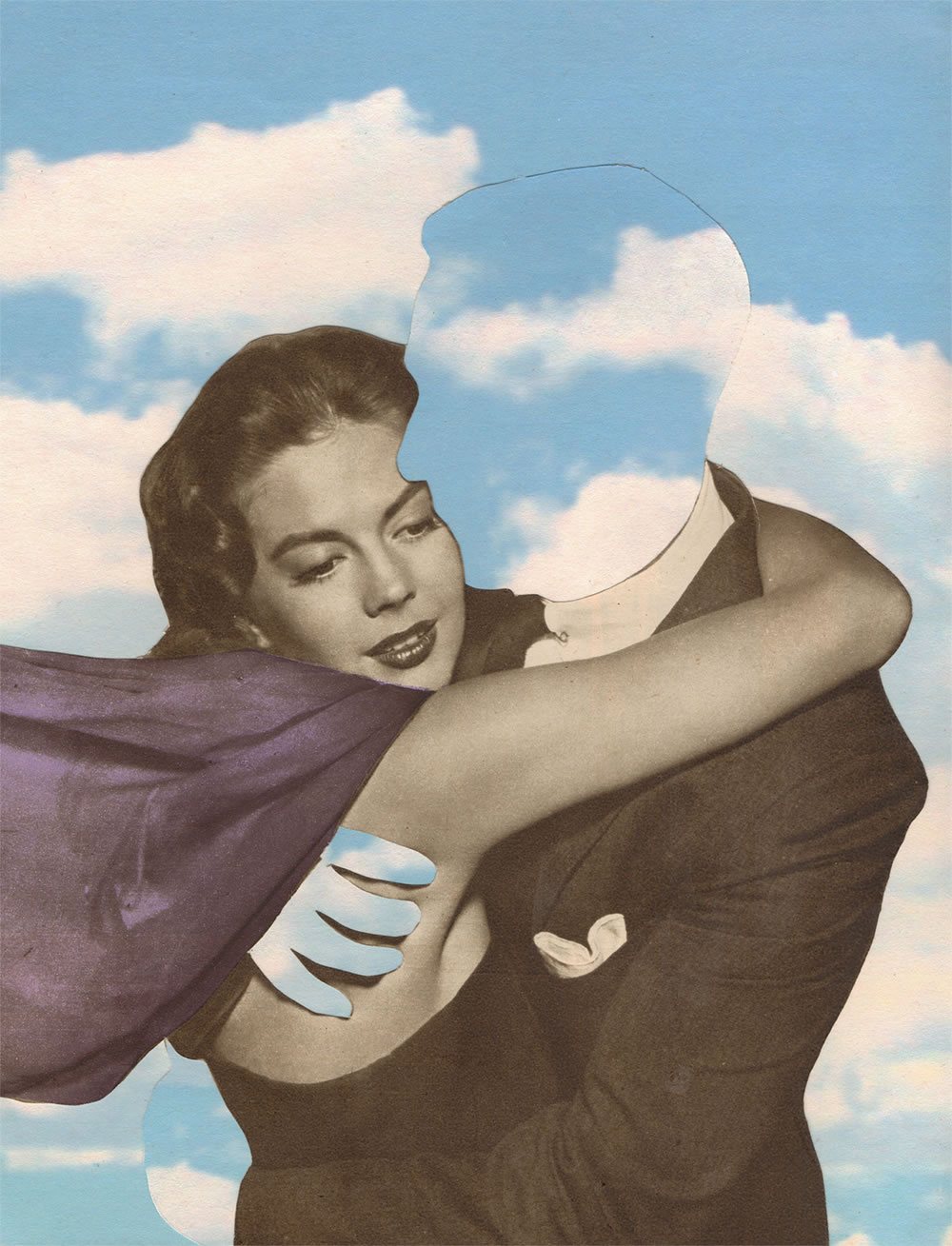 invisible cloud man with woman by joe webb, collage