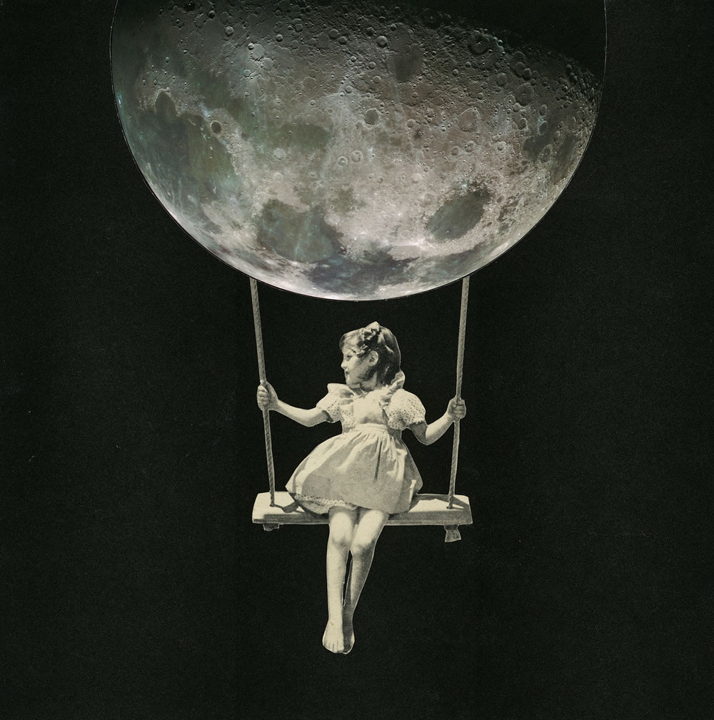 girl on moon swing by joe webb