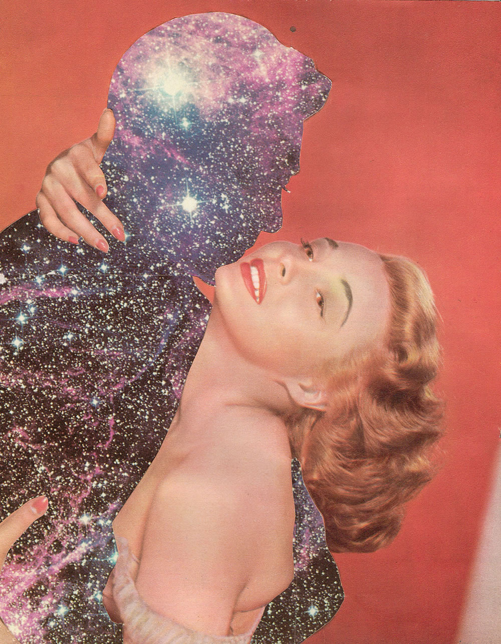 pinup girl holding galaxy man by joe webb, collage