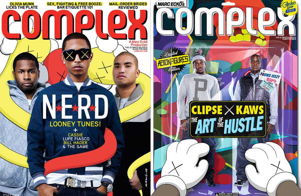 complex magazine covers with nerd and clipse. Art by Kaws
