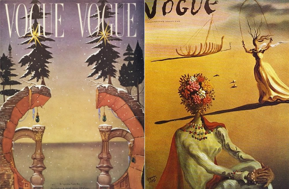 vogue covers by dali, optical illusion
