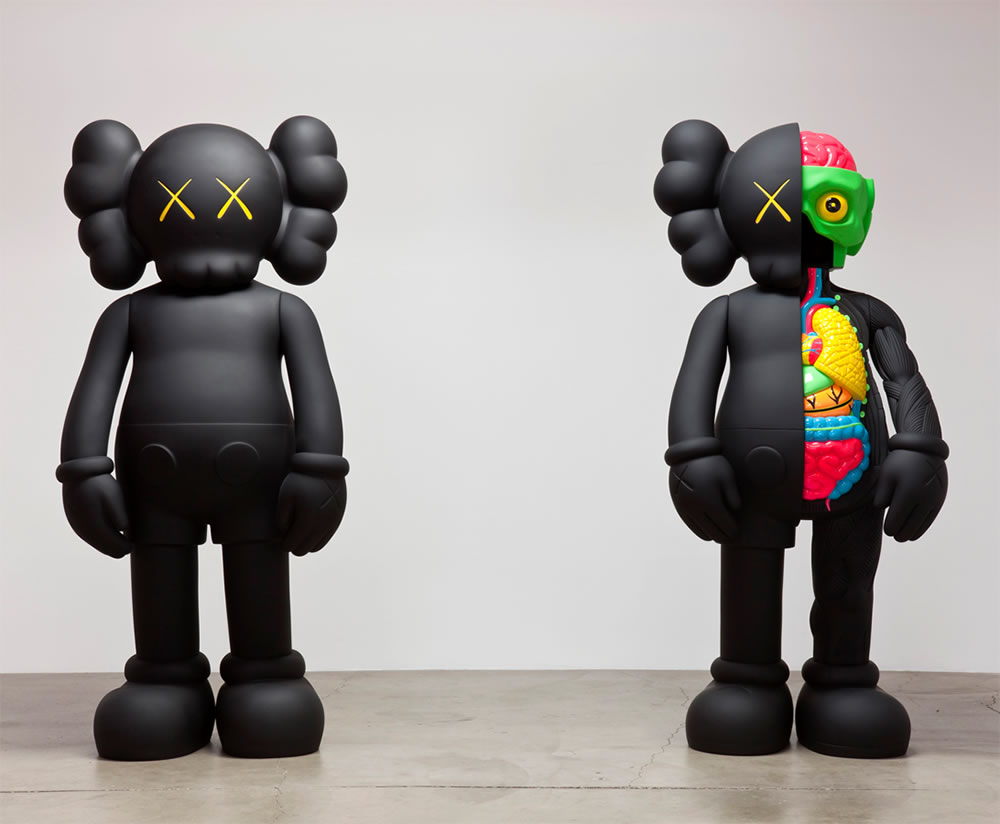 Sculptures from Hold the line art show by Kaws