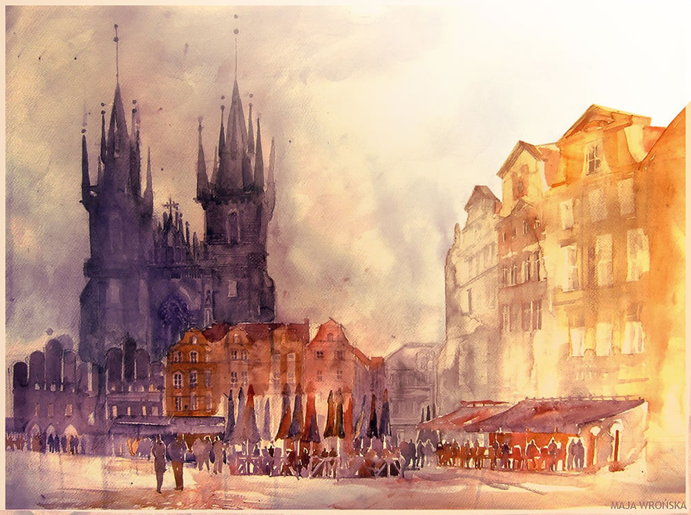 cathedral and people, prague, watercolor painting by Maja Wronska
