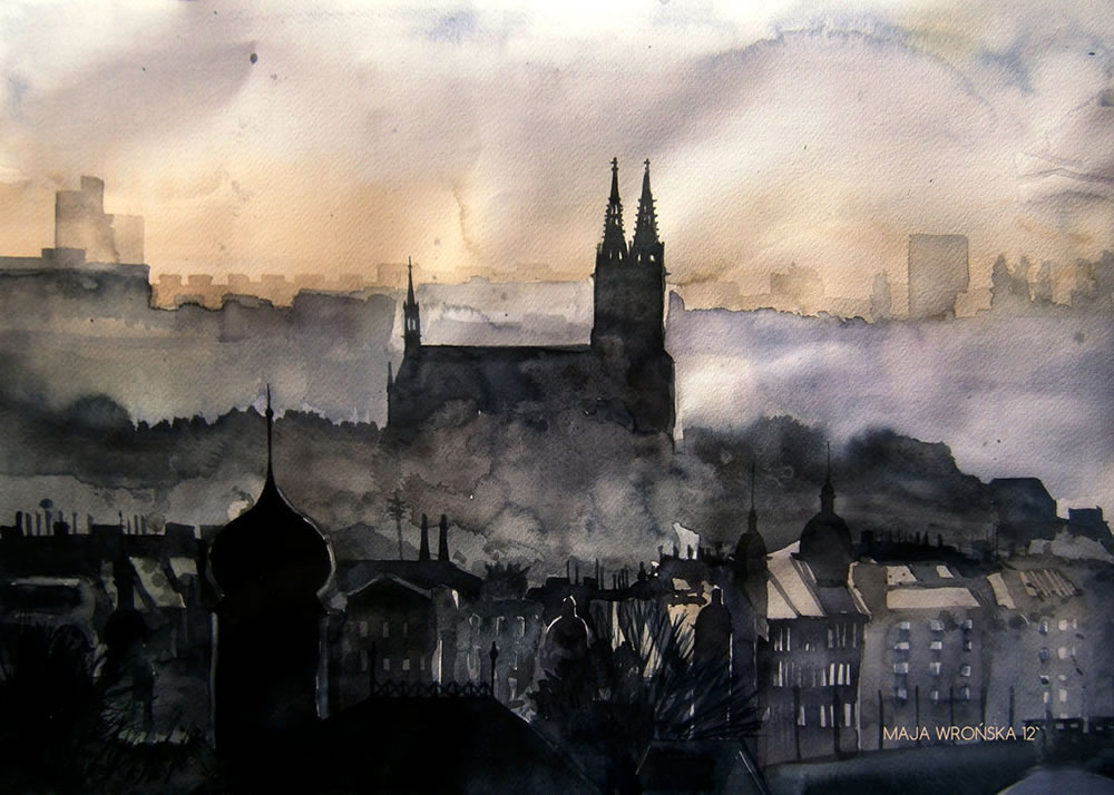 cathedral at far watercolor painting by Maja Wronska