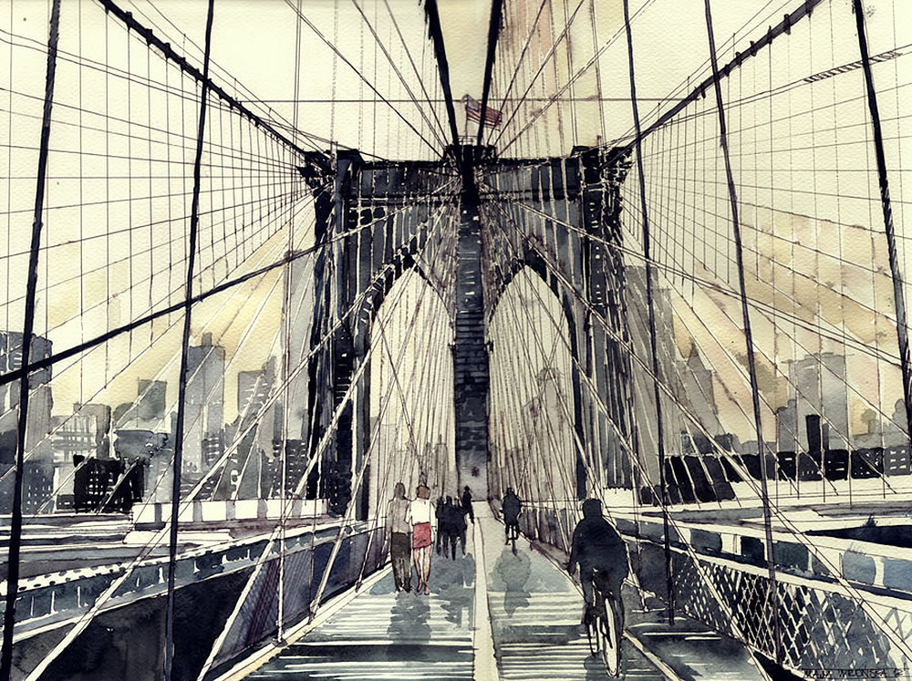 manhattan nyc bridge watercolor painting by Maja Wronska
