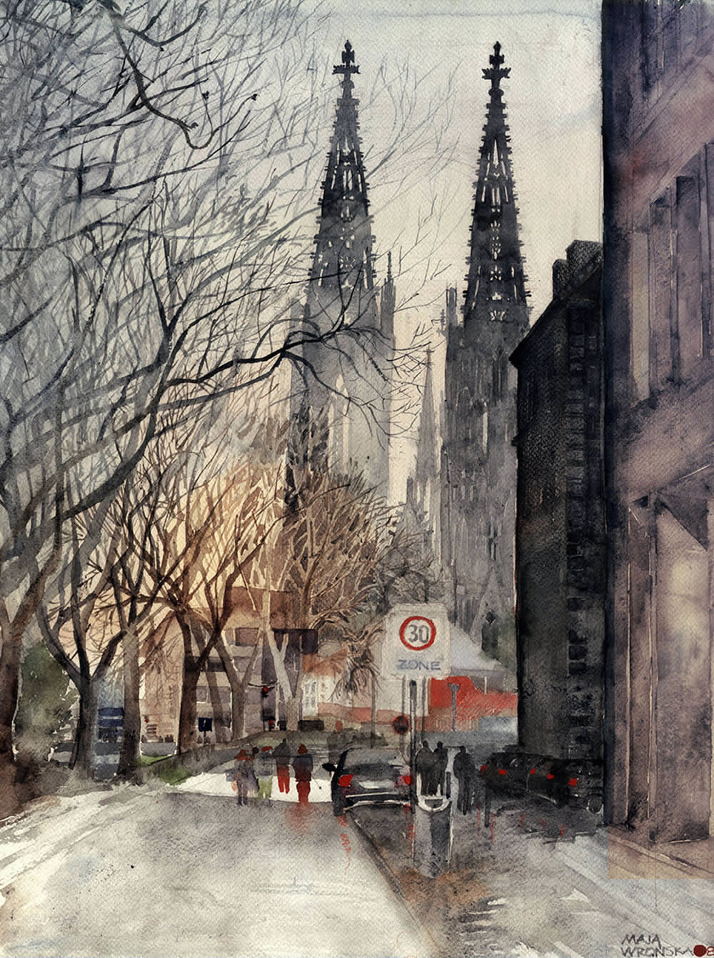 church towers watercolor painting by Maja Wronska