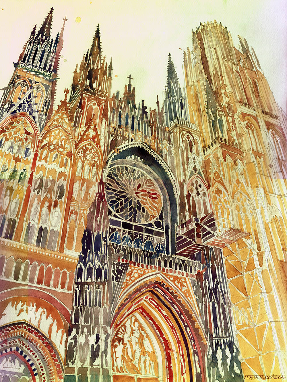 front side of cathedral watercolor painting by Maja Wronska