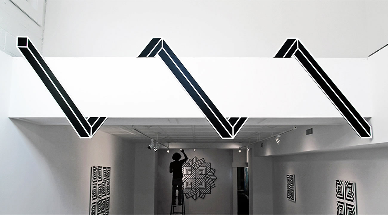 serpentine geometric shape on wall by Aakash Nihalani