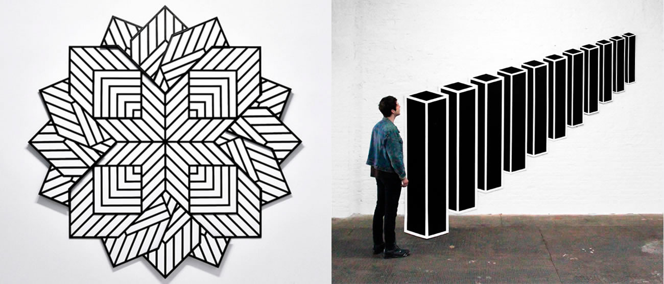 geometric mindbending pattern and rectangle black boxes aligned on wall, by Aakash Nihalani