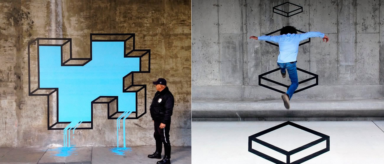 leak in wall and mario bros cube jump by Aakash Nihalani