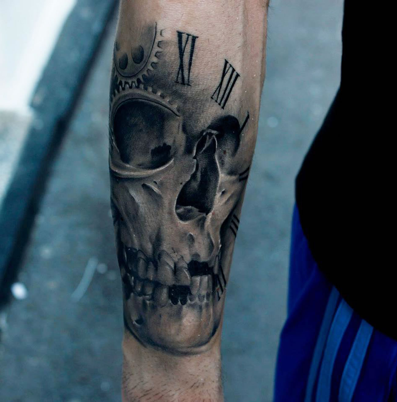skull and watch roman numbers, tattoos by Bacanu Bogdan